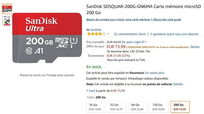 bon plan carte microsdxc sandisk ultra 200 go classe 10 adaptateur sd sur amazon. Black Bedroom Furniture Sets. Home Design Ideas