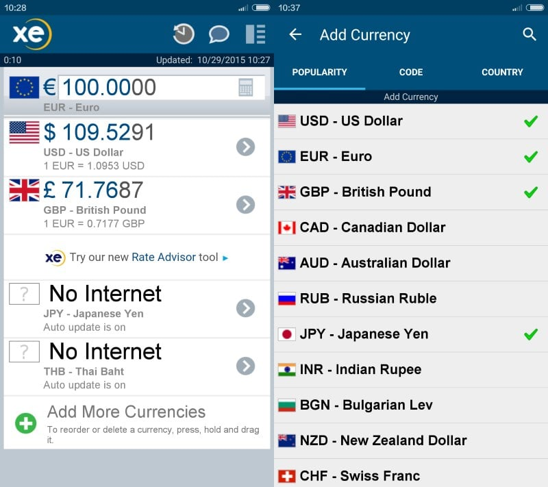 xe currency voyage android
