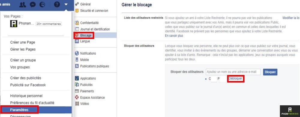 Facebook debloquer quelquun parametre