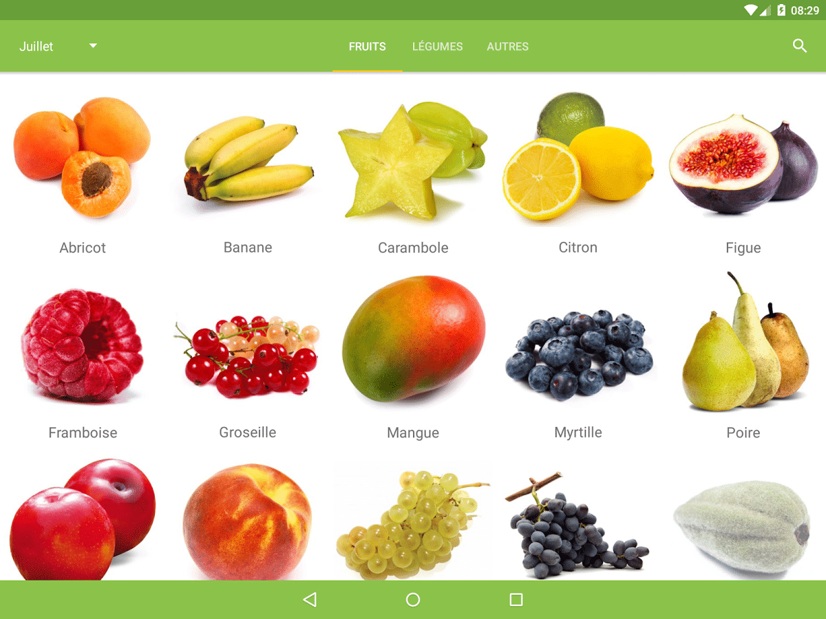 fruits et légumes de saison jardinage android