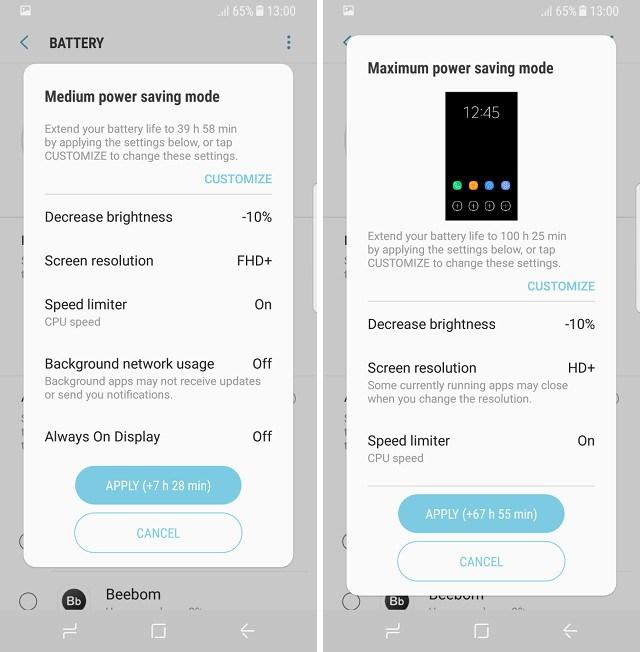galaxy s8 samsung profils personnalisés économie de batterie