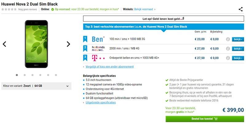 huawei nova 2 europe prix de vente smartphone
