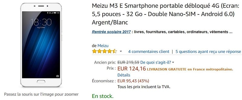 Meizu M3 E Amazon