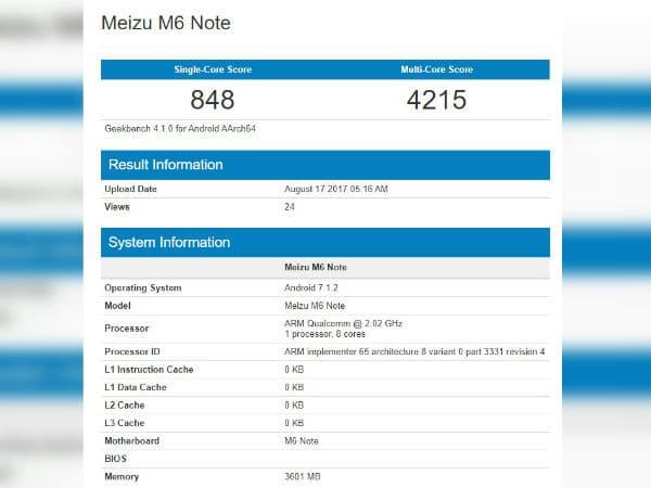 meizu m6 note benchmark fiche technique