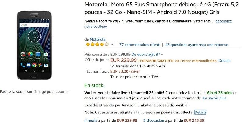 moto g5 plus amazon