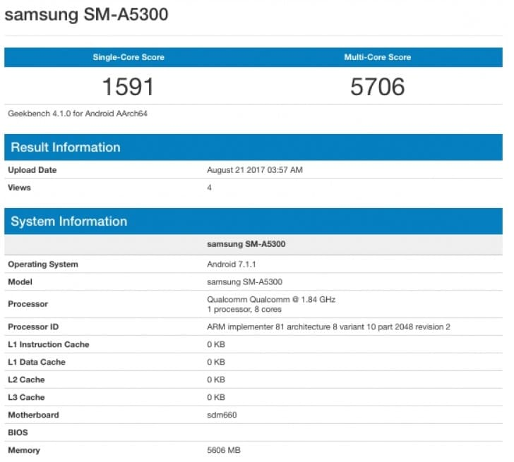 samsung galaxy a5 2018 geekbench