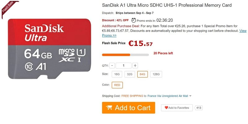 Une carte microSD de 400 Go — SanDisk
