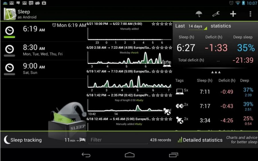 sleep as android tracker de sommeil