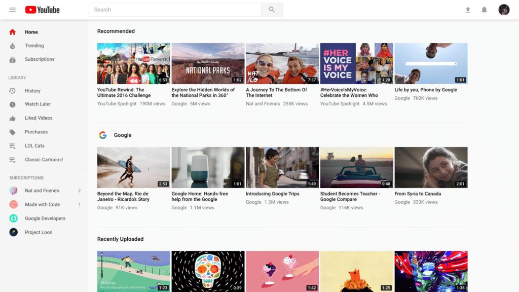 youtube nouveau design