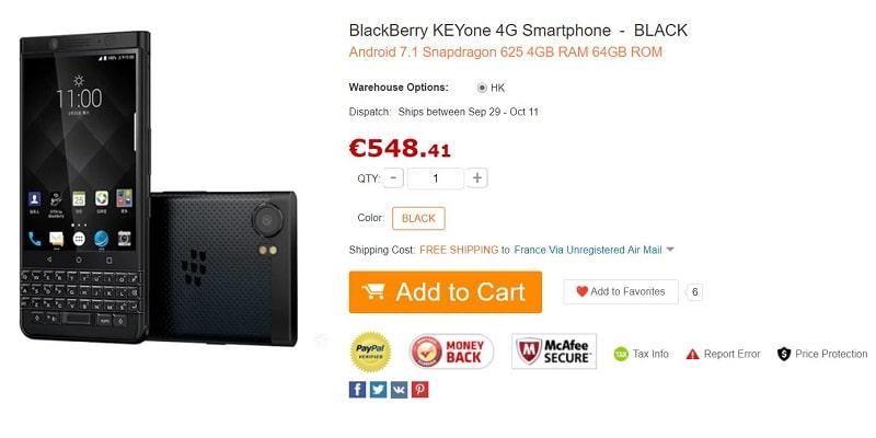 blackberry keyone gearbest black edition