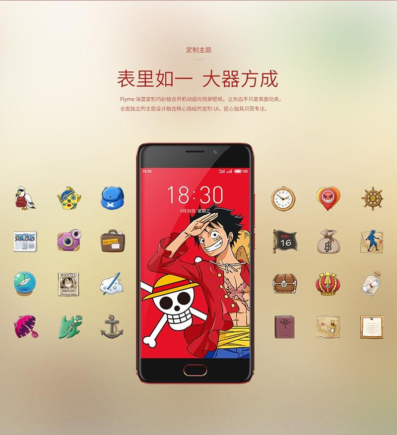 meizu m6 note one piece édition limitée manga icônes smartphone