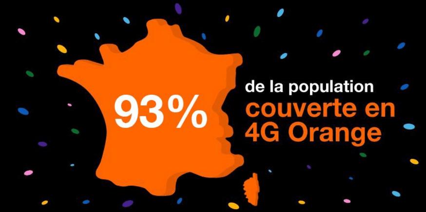 orange 4G réseau couverture 93% population française