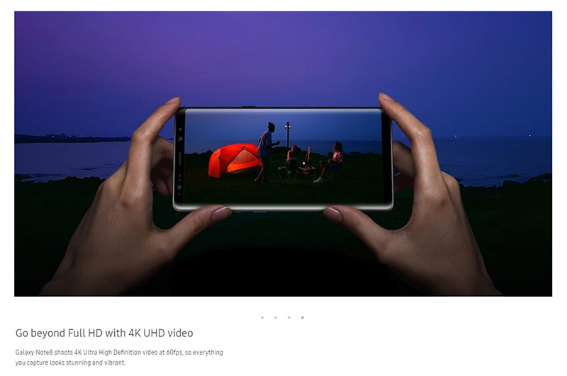 galaxy note 8 samsung video 4k 60 fps ultra haute définition