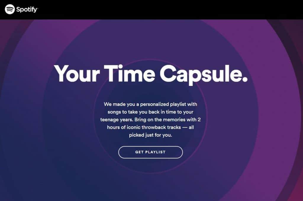 spotify capsule temporelle