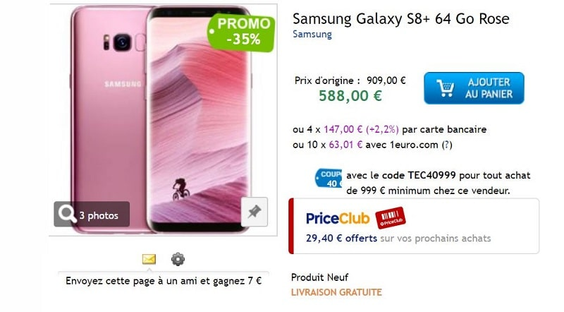 Galaxy s8+ priceminister