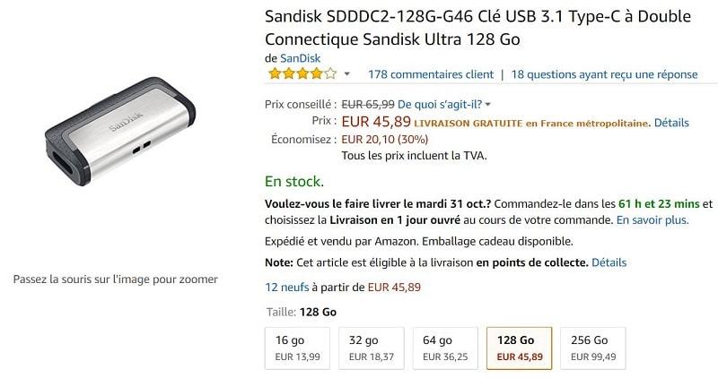 cle usb 3.1 double connectique sandisk