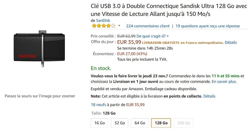 cle usb double connectique 3.0 sandisk ultra