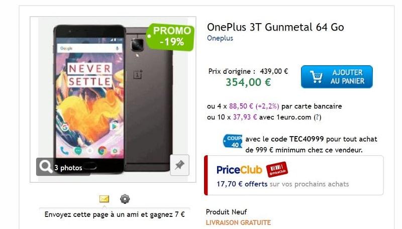 oneplus 3t priceminister