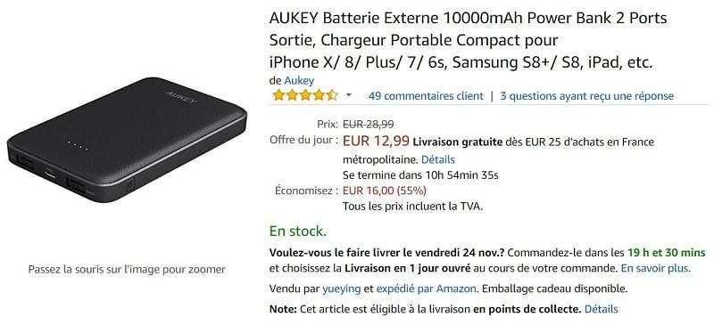 batterie externe aukey 10000 mah