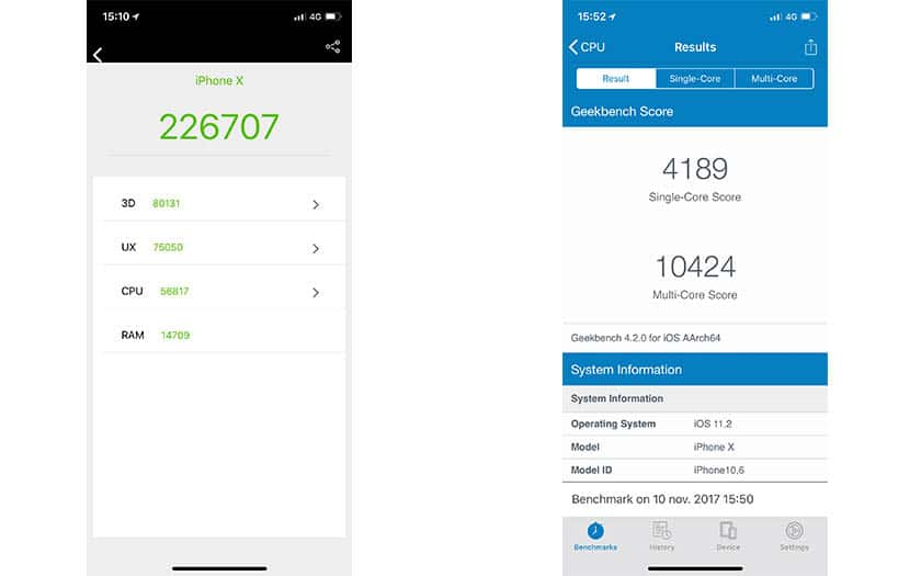 benchmarks iphone x