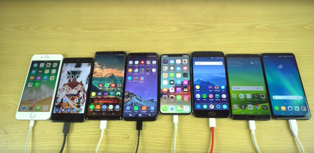 comparatif autonomie iPhone X lg V30 oneplus 5 galaxy S8 huawei mate 10 smartphones 2017