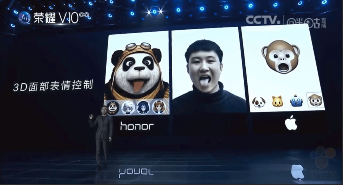 honor v10 animojis iphone x apple