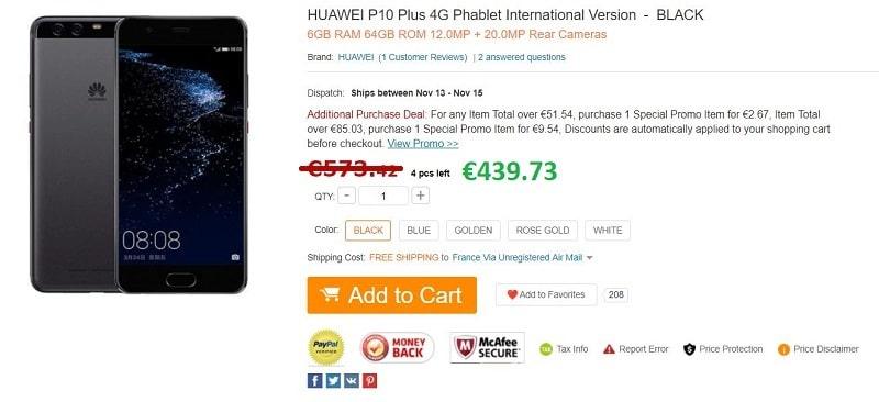 huawei p10 Plus gearbest