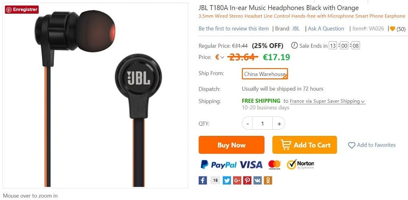 intra-auriculaires JBL T180A
