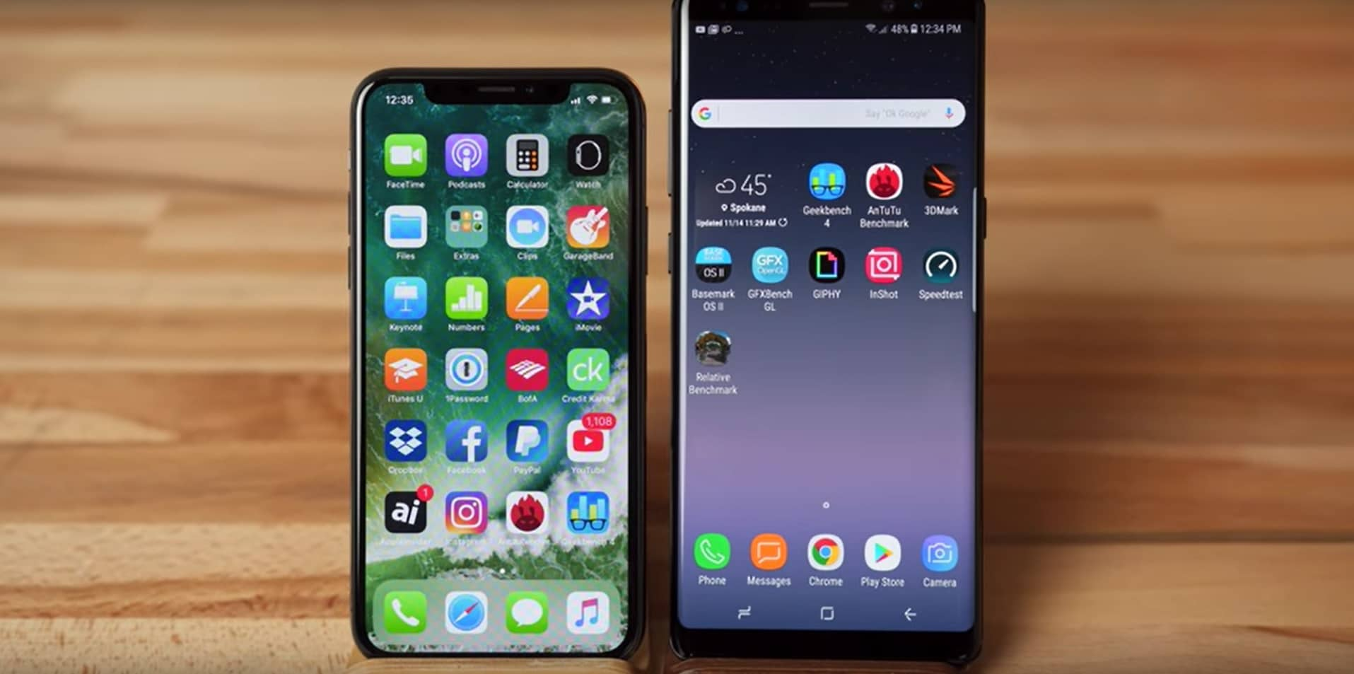 iphone x vs galaxy note 8 benchmarks