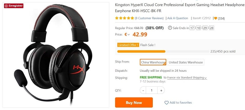 micro casque kingston hyper x cloud core