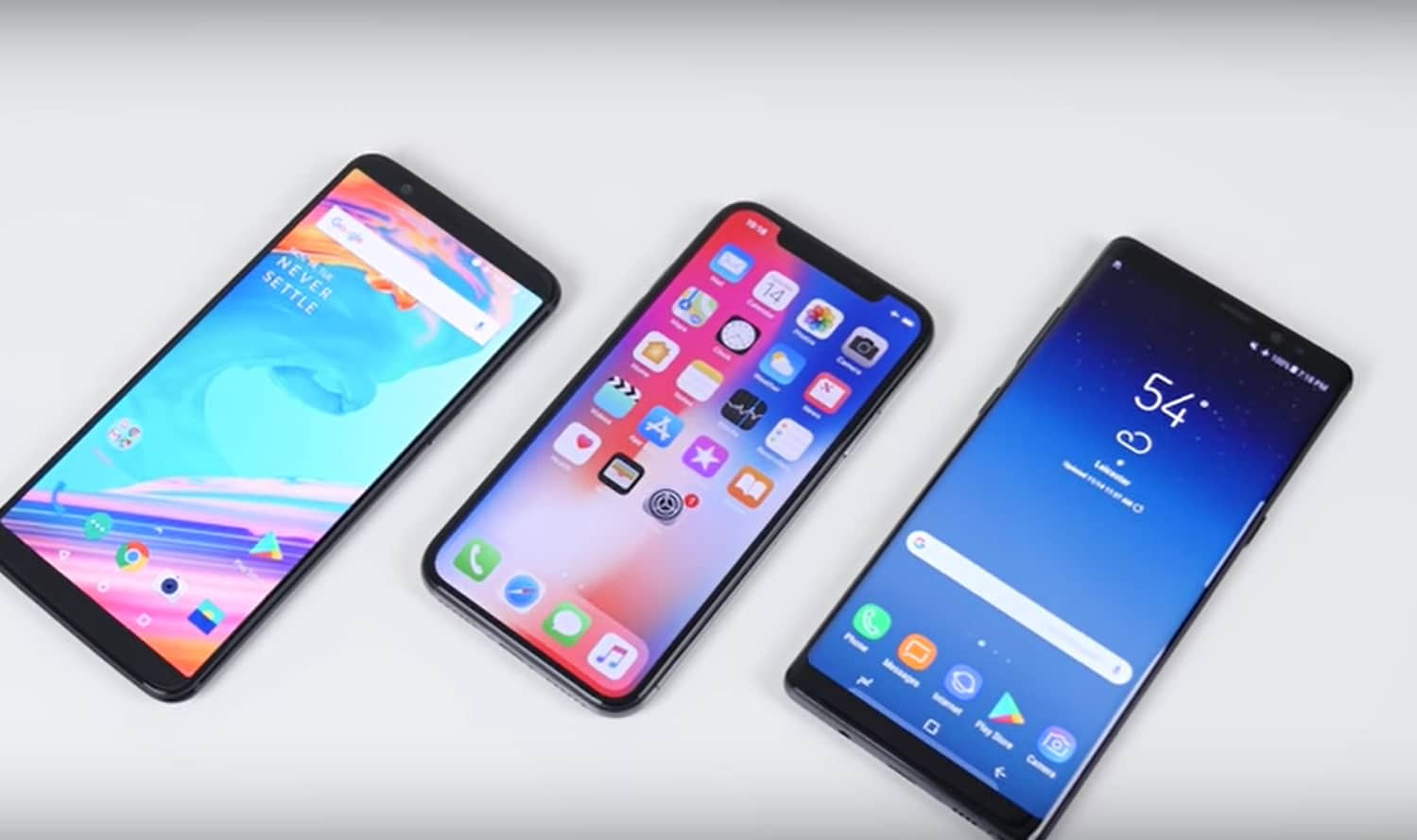 oneplus 5t iphone x galaxy note 8 recharge rapide comparatif