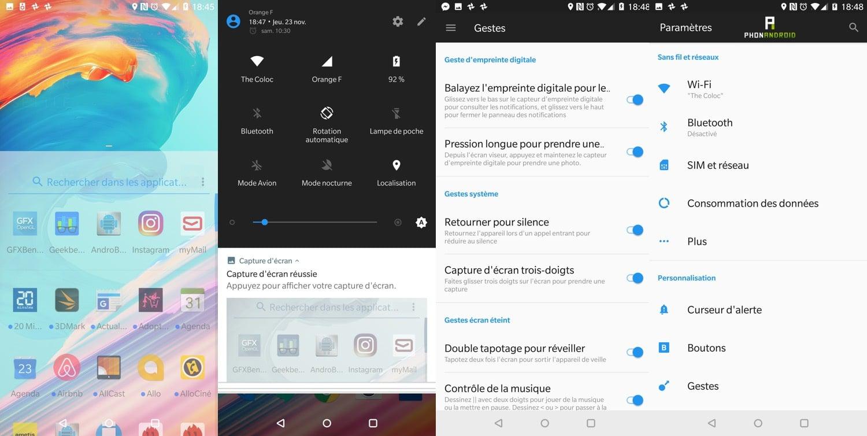 test oneplus 5t interface menus