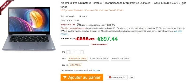 bon plan pc portable xiaomi mi notebook pro 697 au. Black Bedroom Furniture Sets. Home Design Ideas