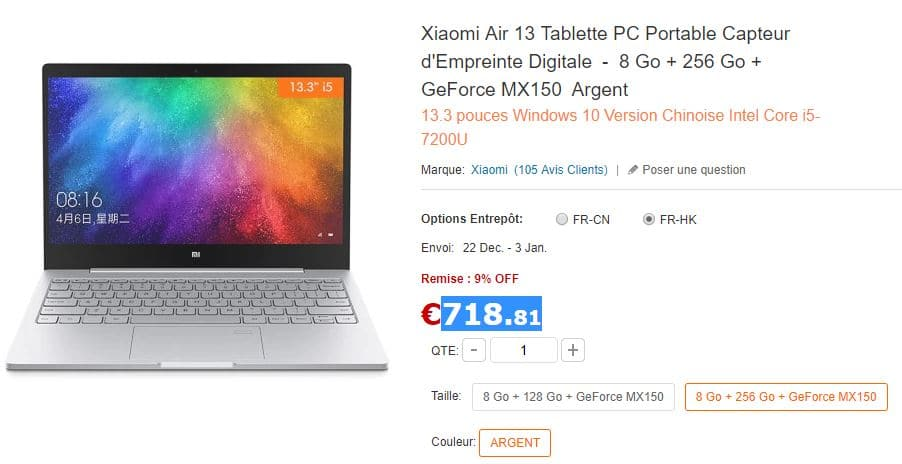 Xiaomi mi notebook air acheter