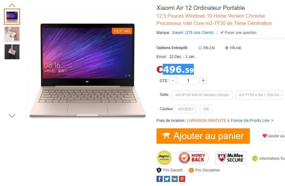 Xiaomi mi notebook air acheter