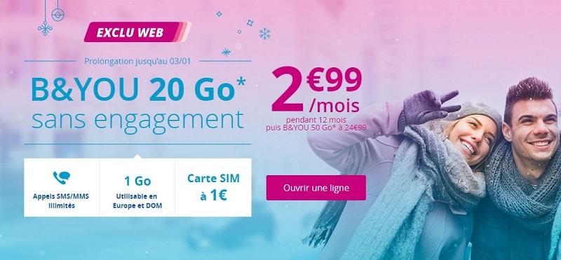 Forfait B&You 20 Go à 2.99€