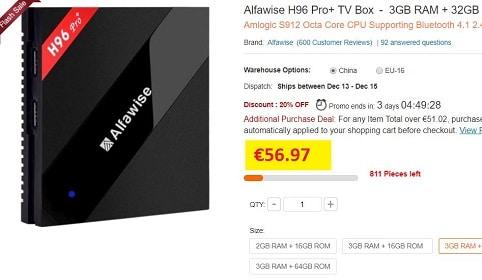 box tv alfawise h96 pro+