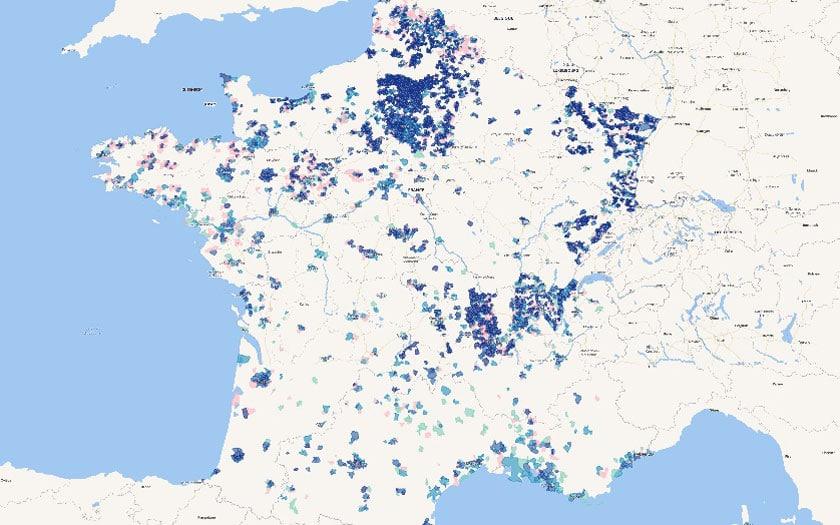Carte de déploiement fibre optique France