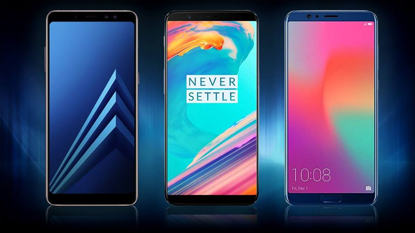samsung galaxy A8 vs OnePlus 5t vs Honor View 10