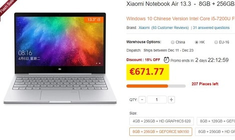 notebook air 13.3 xiaomi