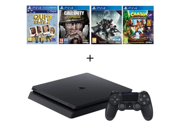 PS4 Slim 500 Go + Qui-es-tu ? (Jeu PlayLink) + Call of duty World War II + Destiny 2 + Crash Bandicoot N. Sane Trilogy