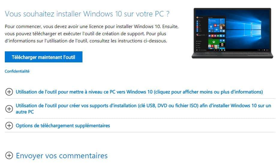 récupérer Windows 10 Français
