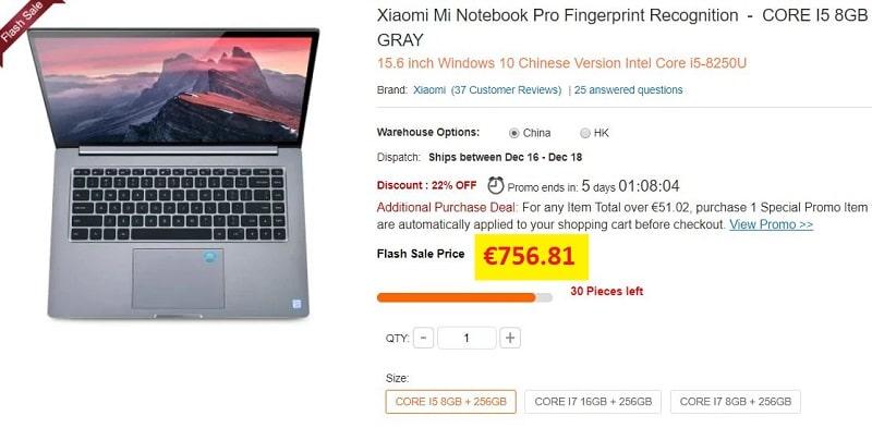 xiaomi mi notebook pro moins cher gearbest