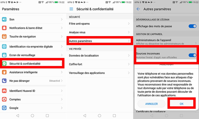 activer sourcees inconnues android