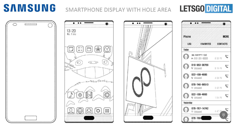 galax note 9 brevet appareil photo frontal sous écran