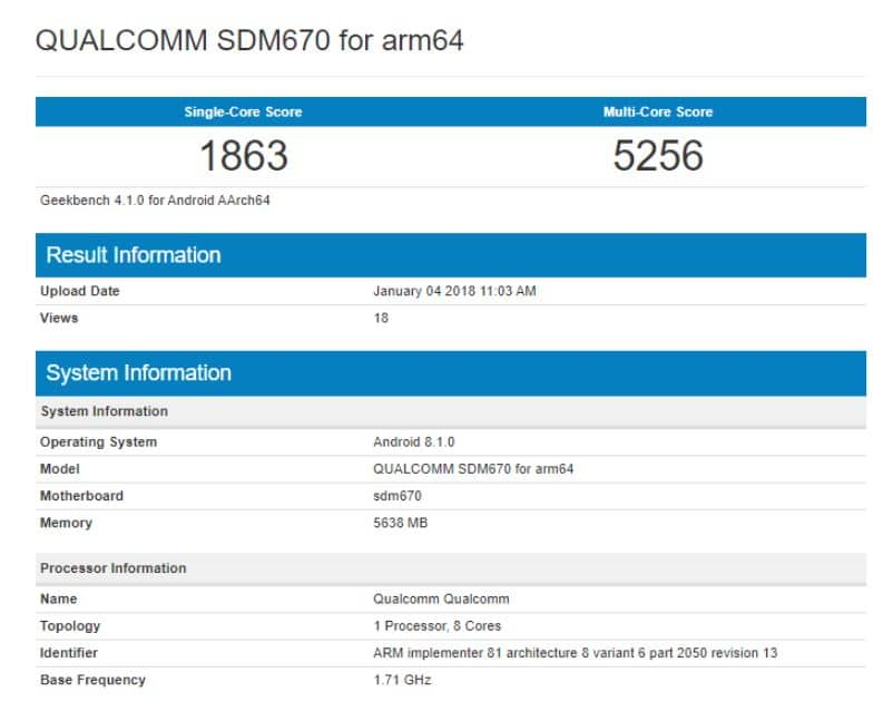 snapdragon 670 benchmark