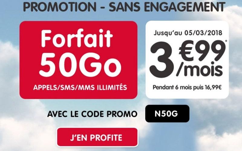 forfait nrj mobile 50 go à 3,99 € / mois pendant 6 mois