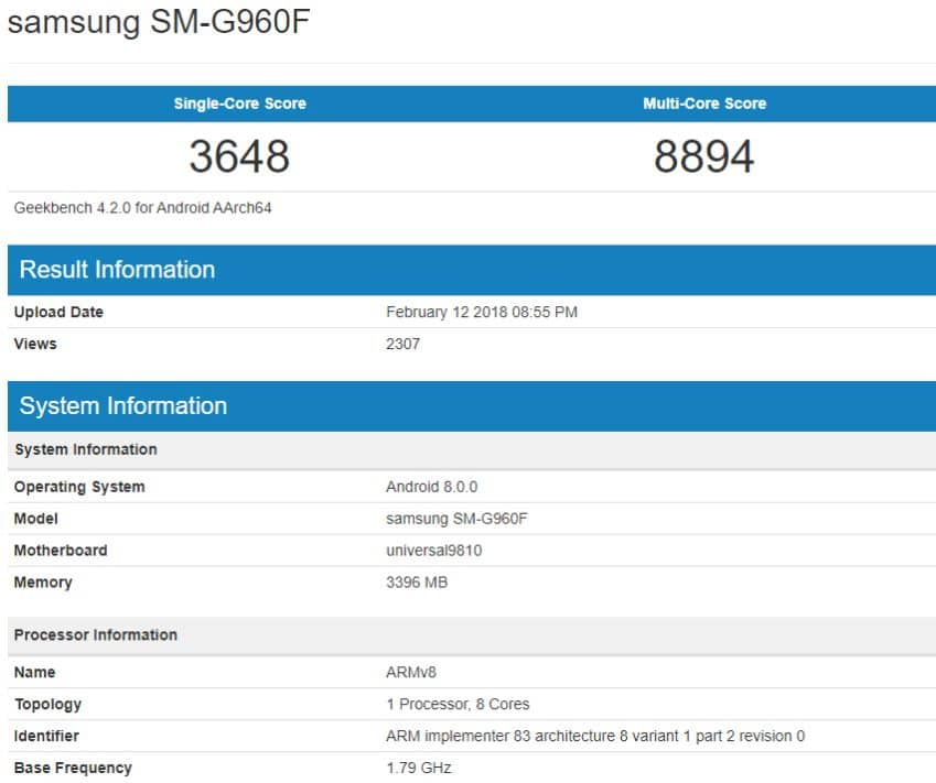 galaxy S9 exynos benchmark