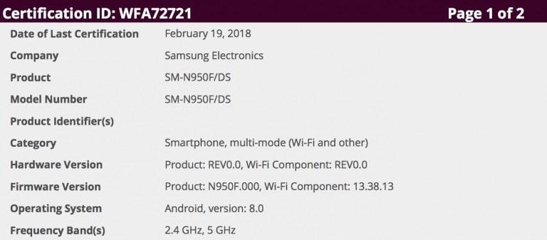 Galaxy Note 8 Wi-Fi Alliance