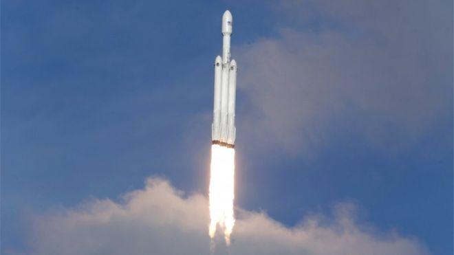 space x falcon heavy tesla décollage réussi